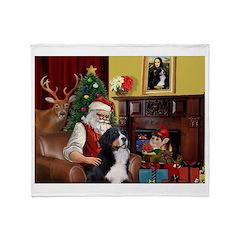 Santa's Home & Bernese Throw Blanket