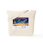 XmasSunrise/2 Bichons Tote Bag