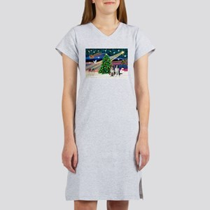 XmasMagic/2 Border Collies Women's Nightshirt