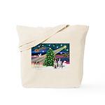 XmasMagic/2 Border Collies Tote Bag