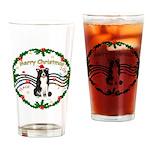 XmasMusic1MC/Border Collie Drinking Glass