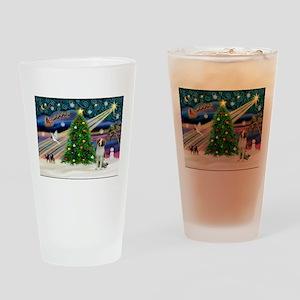 Xmas Magic / Brittany Spaniel Drinking Glass