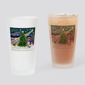Xmas Magic / Brittany Spaniel Drinking Glass