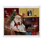 Santa & His Brittany Throw Blanket