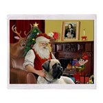 Santa's Bull Mastiff #4 Throw Blanket