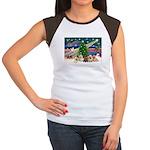 Xmas Magic & 5 Cairn Terriers Women's Cap Sleeve T