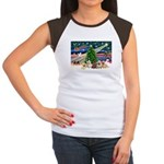 Xmas Magic & 5 Cairn Terriers Women's Cap Sleeve T