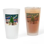 Xmas Magic & 5 Cairn Terriers Drinking Glass