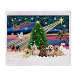Xmas Magic & 5 Cairn Terriers Throw Blanket
