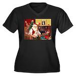 Santa's Cairn Terrier Women's Plus Size V-Neck Dar