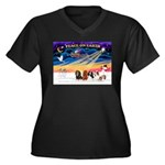XmasSunrise/5 Cavaliers Women's Plus Size V-Neck D