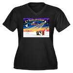 XmasSunrise/3 Cavaliers Women's Plus Size V-Neck D