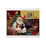 Santa's 2 Cavaliers Throw Blanket