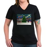 XmasMagic/Tri Cavalier Women's V-Neck Dark T-Shirt