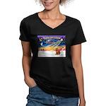 XmasSunrise/Chow #2 Women's V-Neck Dark T-Shirt