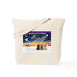 XmasSunrise/3 Cockers Tote Bag
