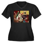 Santa's Buff Cocker Women's Plus Size V-Neck Dark