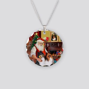 Santa's Collie pair Necklace Circle Charm