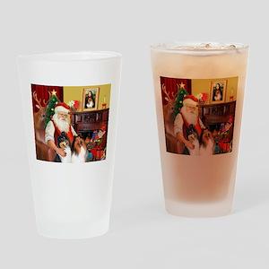 Santa's Collie pair Drinking Glass
