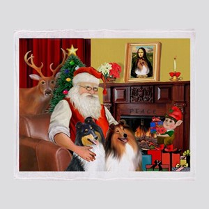 Santa's Collie pair Throw Blanket
