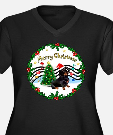 XmasMusic1/Dachshund #17 Women's Plus Size V-Neck