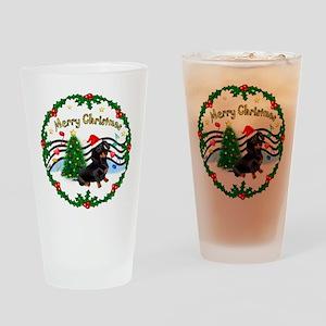 XmasMusic1/Dachshund #17 Drinking Glass