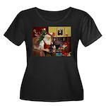 Santa's Dachshund (bt) Women's Plus Size Scoop Nec