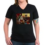 Santa's Dachshund (Br) Women's V-Neck Dark T-Shirt