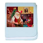 Santa's Dachshund (Br) baby blanket