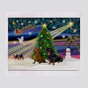 XmasMagic/2 Dachshund (BB) Throw Blanket