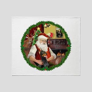 Santa's Doberman Pinscher Throw Blanket