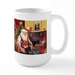 Santa's 2 Dobermans Large Mug