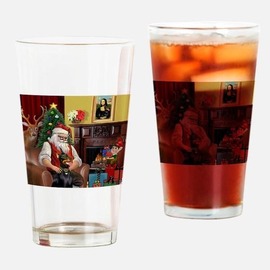 Santa's Dobie (Bz) Drinking Glass