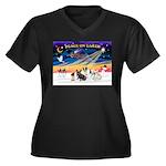 XmasSunrise/4 Fr Bulldogs Women's Plus Size V-Neck