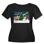 Xmas Magic & FBD Women's Plus Size Scoop Neck Dark