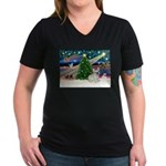 Xmas Magic & FBD Women's V-Neck Dark T-Shirt