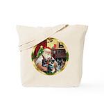Santa's 2 German Shepherds Tote Bag