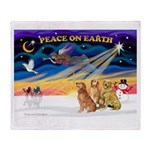 XmasSunrise/3 Goldens Throw Blanket
