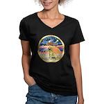 XmasStar/Golden #1 Women's V-Neck Dark T-Shirt