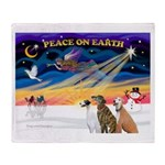 XmasSunrise/3 Greyhounds Throw Blanket