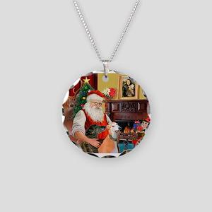Santa's Greyhound pair Necklace Circle Charm