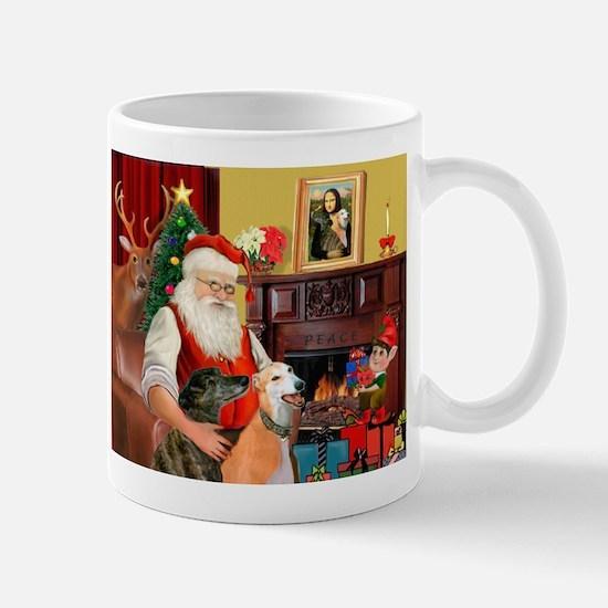 Santa's Greyhound pair Mug