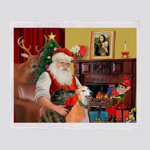 Santa's Greyhound pair Throw Blanket