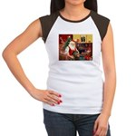 Santa's Greyhound(brin) Women's Cap Sleeve T-Shirt