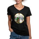 XmasMusic1MC/Greyhound Women's V-Neck Dark T-Shirt