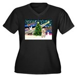 XmasMagic/Havanese pup Women's Plus Size V-Neck Da