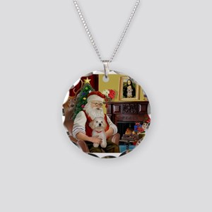 Santa's Havanese Puppy Necklace Circle Charm