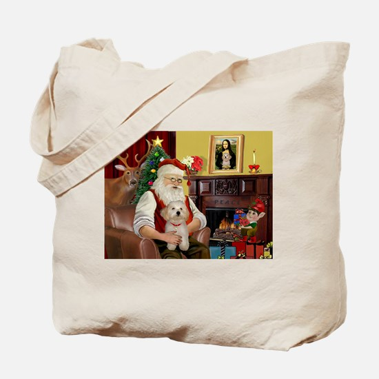 Santa's Havanese Puppy Tote Bag