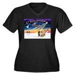 3 Spinones Women's Plus Size V-Neck Dark T-Shirt