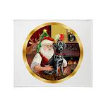 Santa's Lab (blk)#1 Throw Blanket